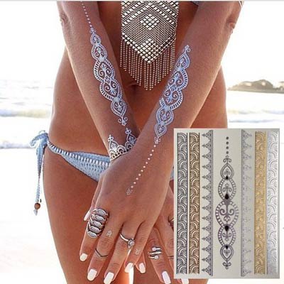 shimmer metallic jewelry tattoos style guru fashion