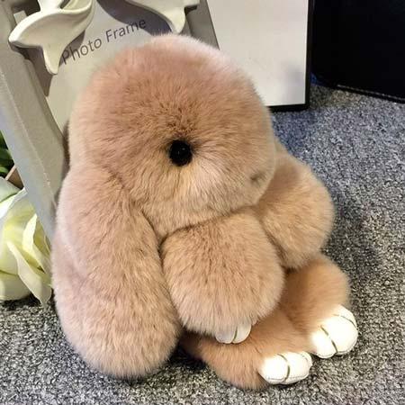 Игрушка кролик из натурального меха брелок