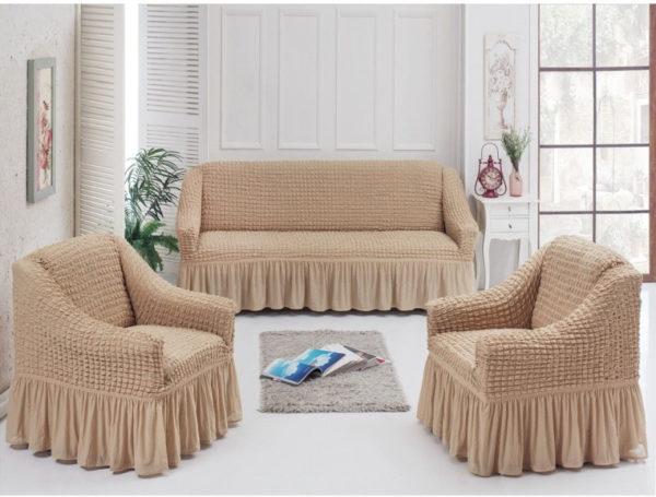 Набор чехлов для мебели с оборкой