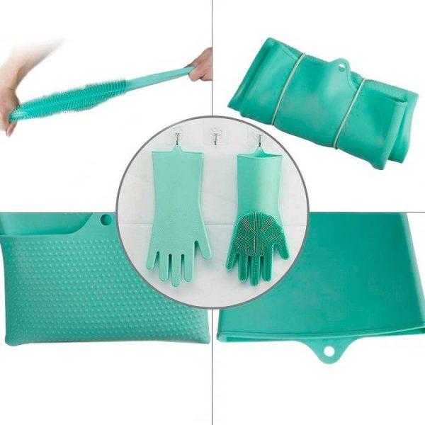 Силиконовые перчатки с ворсинками